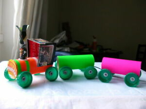Train toys, recycled trains from toilet paper cores. Lovely toys for babies.