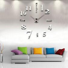 DIY Wand Uhr Wohnzimmer Wanduhr Spiegel Wandtattoo Deko XXL 3D Stylisch weiß SG2