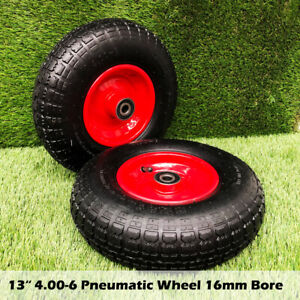 "13"" 4.00-6 Wheelbarrow PneumaticTrolley Barrow Wheel wheels Tyres 16mm Bore"