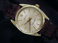 Mens Rolex 14K Gold Shell Oyster Perpetual No-Date Watch Brown Silver 1024