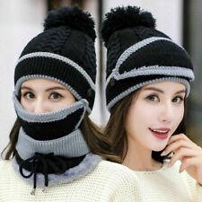 3 in 1 Unisex Hat Scarf Snood Set Winter Warm Beanie Pompom Cap For Men&Women s5
