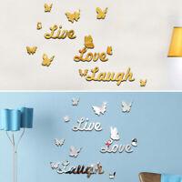 3D Mirror Wall Sticker Butterfly Stick On Decal Mural DIY Home Art Bedroom Decor