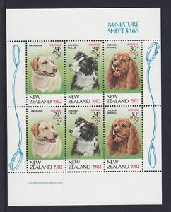 NEW ZEALAND 1982 HEALTH STAMPS DOGS Mini Sheet Price $4.00