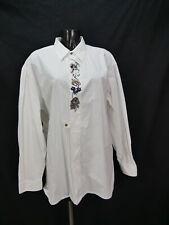 Gr.XL Trachtenhemd Alpenland weiß mit Edelweiß Enzianmotiv Trachten Hemd TH1699