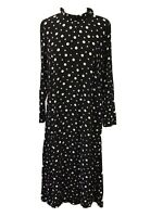 M&S Collection, Ladies Polka Dot Maxi Long Dress, Black And White, Size Uk 12
