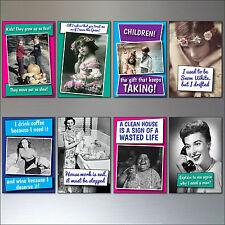 Juego de 8 Inspirador GRACIOSO frases divertidas Vintage Imanes de nevera N º 2