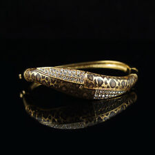 18k Gold GF with Swarovski crystals leopard bangle bracelet
