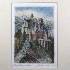 """Vintage German Color Engraving, """"Neuschwanstein Castle"""", Ludwig II of Bavaria"""