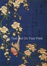 Weeping Cerise & Bouvreuil Repro Japonais Bloc de Bois Poster Katsushika Hokusai