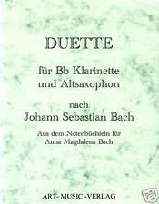 NOTEN  DUETTE KLARINETTE &  ALT-SAXOPHON  NACH J.S. BACH