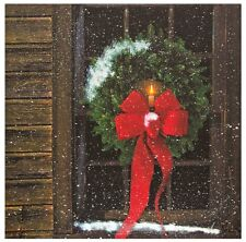 "LIGHTED WINDOW CHRISTMAS WREATH CANVAS PRINT BATTERY LED LIGHTS 14"" X 14"""