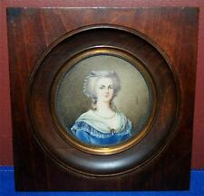MINATURE HAND PAINTED PAINTING ON IVORY OF MARIE ANTOINETTE SQUARE WOOD FRAME DH