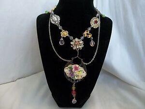 Vintage Victorian Flower Wedding Rhinestone Pink Collage Assemblage Necklace