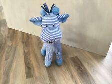 "MOTHERCARE Blue & White Striped Giraffe Soft Toy Comforter Animal 12"""