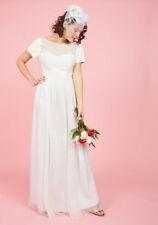 Modcloth Aisle & Beyond Maxi Wedding Dress Medium Chiffon Beaded Cap Sleeves New