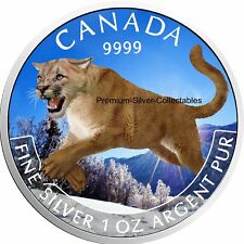 "2016 Canada Predator Colorized Cougar ""Winter"" type Coin - 1 Ounce Pure Silver!"