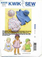KWIK SEW SEWING PATTERN 3035 BABY BOY/GIRL S-XL DRESS/TOP ROMPER NAPPY COVER HAT