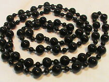 Long Black Glass Beaded Necklace Over the Head