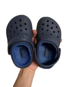 Crocs Toddler Kids 6C Faux Fur Lined Slip On Clogs Navy Blue