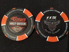 "Harley Poker Chip Golf Ball Marker (Black) ""Conrad's 115"" Joliet, Illinois"