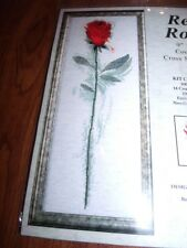 "Design Works RED ROSE SINGLE ROSE Counted Cross Stitch Kit  9"" x 24"""