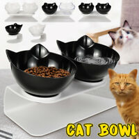 Cat Double Bowls w/ Raised Stand Pet Food Water Bowl Cats Dog Feeder Dispenser