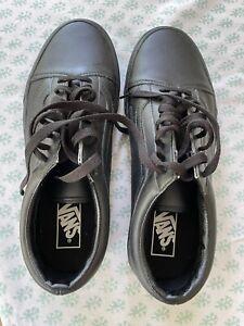 Vans Old Skool - Men Boys School Shoes Black Leather Size 8.5
