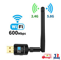 Clé WiFi USB Wireless Adaptateur 600Mbps Dongle 2.4/ 5GHz Double Bande Antenne