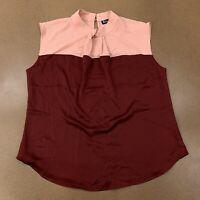NY&C Women's Size Large Mauve Burgundy Color Block Sleeveless Shell Top NWT