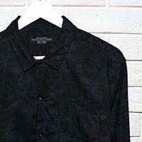 Allsaints Mens Black Blue Longsleeve Shirt Size L