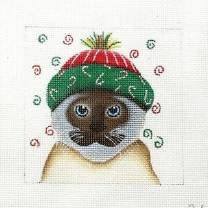 Ginny Diezel / Maggie Christmas Cat Handpainted Needlepoint Canvas