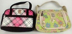 Lot of 2 Nintendo DS Girls Soft Case Zipper Purse Holder Bag Floral Plaid Red A2