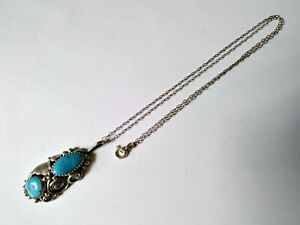 Vintage Native American Sterling Silver Floral Turquoise Necklace Pendant Navajo