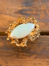 Vintage Brutalist Opal Nugget Ring Size 6 10k Yellow Gold