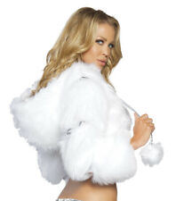 J Valentine Faux Fur Short Jacket Coat White w/ Silver Bands One Size New w/Tags