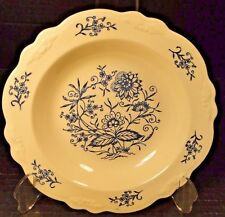 "Homer Laughlin Virginia Rose Dresden Imperial Blue Soup Bowl Pasta 8 1/4"" NICE"