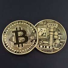 10Pcs Set Rare Collectible Golden Iron Bitcoin Commemorative Gold Plated Coin aa