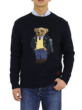 Polo Ralph Lauren Preppy Bear Crew Knit Navy Sweater Cotton/linen Sz L
