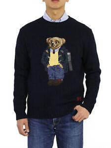 Polo Ralph Lauren Crew Polo Bear Sweaters Navy men's sizes, Big & Tall sizes
