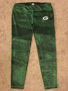 Women's Majestic Cool Base Green Bay Packers Stretch Leggings Pants Size L