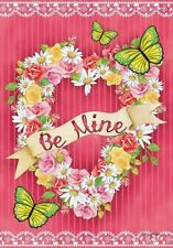 "Be Mine Valentine'S Day Floral Flower Heart Wreath Large House Flag 28"" X 40"""