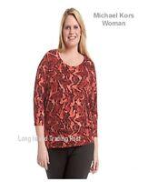 Michael Kors Plus Size Tunic Top Blouse Reptile Raglan Sleeve Gold Logo Tab