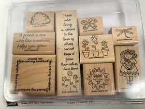 YOU ARE MY SUNSHINE  Stampin' Up Set of 9 Wood Mounted StampsFlowers Butterfly