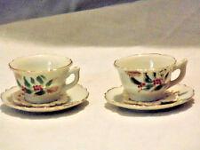 Miniature Floral Gold Trim Doll Tea Set 2pc Doilies Dollhouse Pretend Play Decor