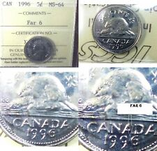 """CANADA 1996  FIVE CENT  COIN ICCS GRADED  """" FAR 6 VARIETY """""""