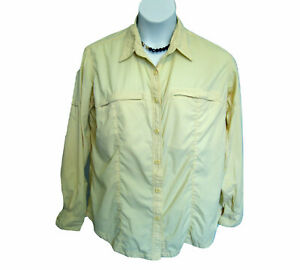COLUMBIA GRT Ripstop Shirt Blouse Womens Size XL 16 18 Yellow Hiking Colombia