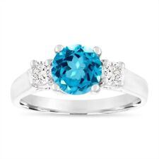 1.55 Carat Blue Topaz Engagement Ring, 14K White Gold Birthstone Certified