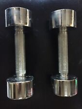 Vintage Gold's Gym Chrome Pair 5lb Dumbells (10lbs Total) Screw On Weights Set