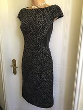 Size 6/8 Knee Length Fleece and PVC MAGGY LONDON Grey and Black Dress