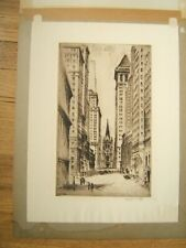 NAT LOWELL SIGNED ETCHING WALL STREET AAA
